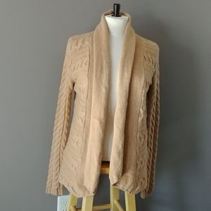 Fylo cable knit 100% cashmere open cascading cardigan